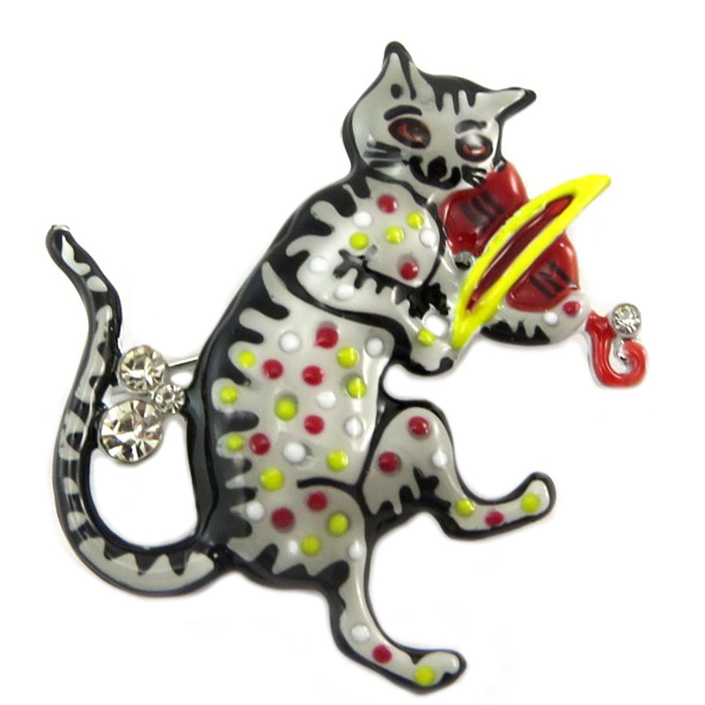 Broche créateur \'Lilipoupettes\' (chat violoniste) gris rouge - 45x45 mm - [P7458]