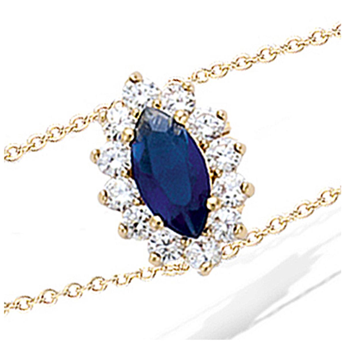 Bracelet Plaqué Or \'Victorina\' saphir doré - 15x11 mm - [N5401]