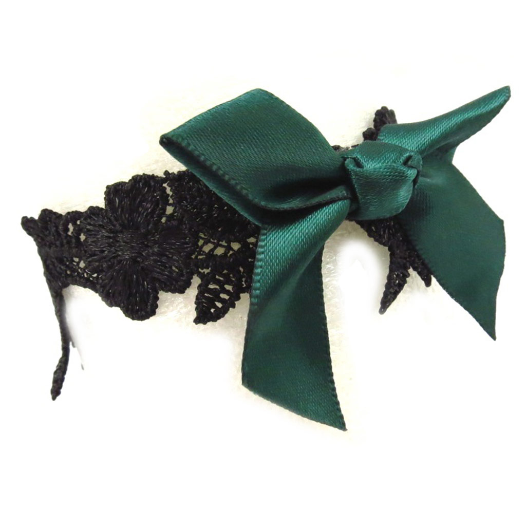 Chaine cheville \'Courtisanes\' noir vert (dentelle) - [K6583]