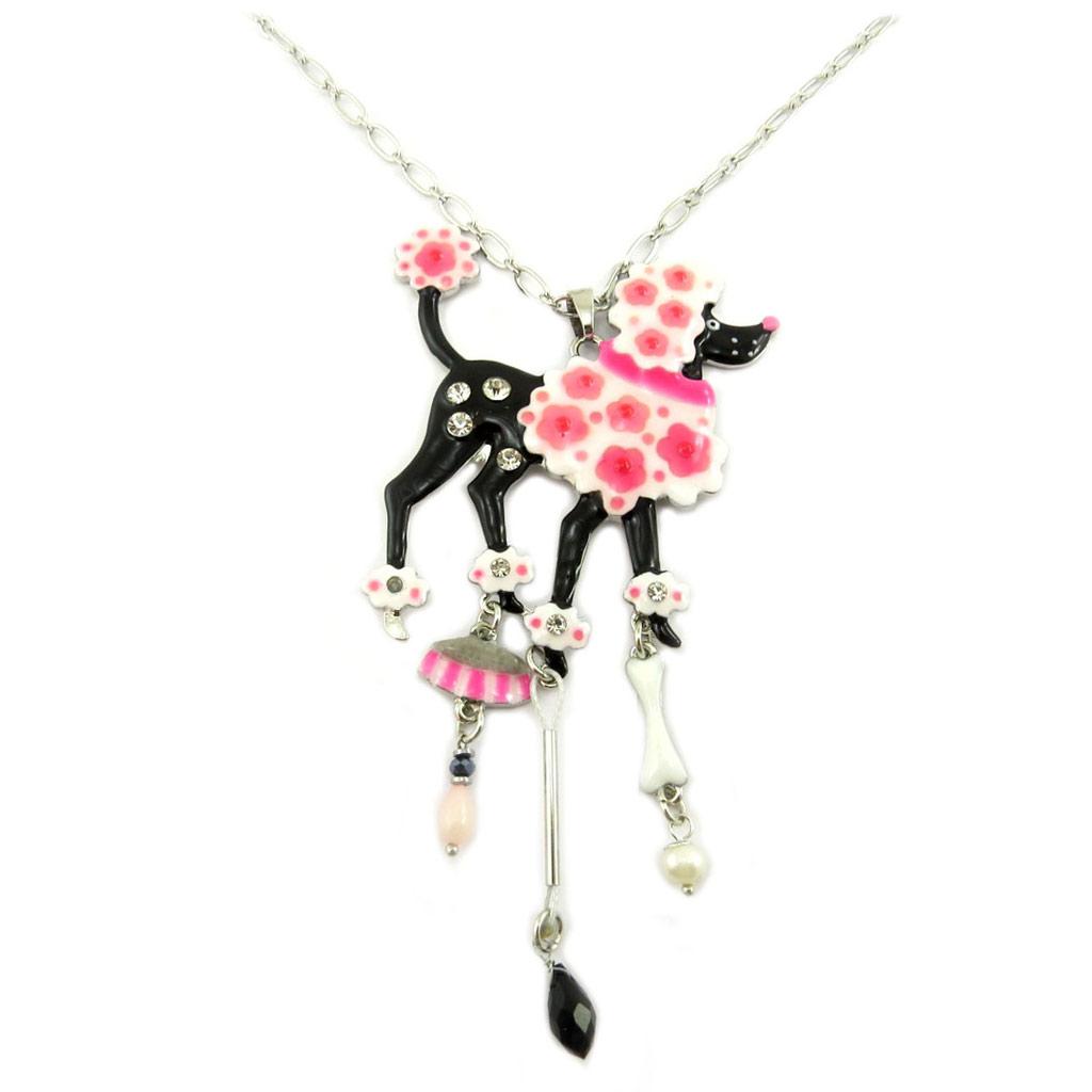 Collier sautoir créateur \'Lilipoupettes\' (Caniche Beauté) rose noir - 125x55 cm - [P7484]