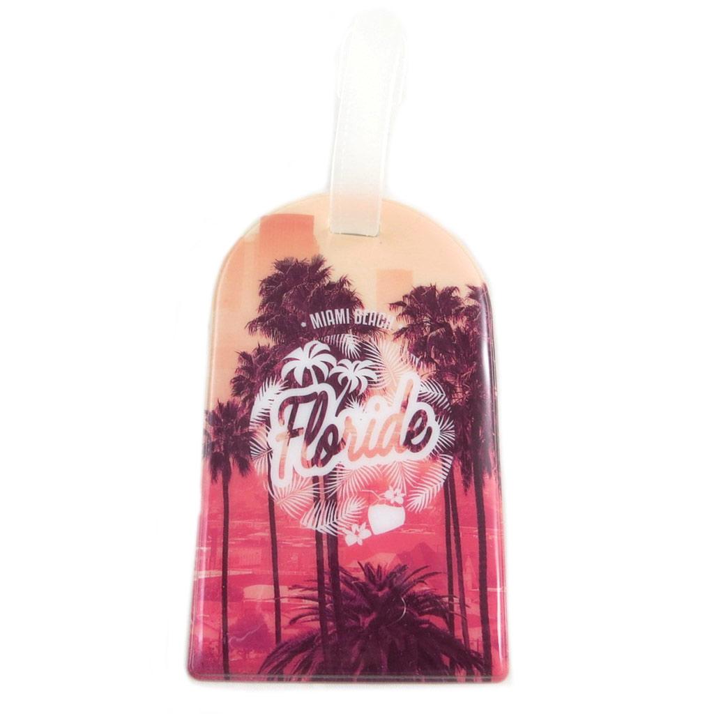 Porte-étiquette de bagage \'Floride\' rose - 11x6 cm - [P9502]
