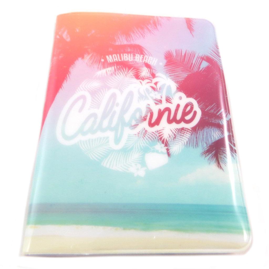 Etui passeport \'Californie\' rose vert - 14x10 cm - [P9504]