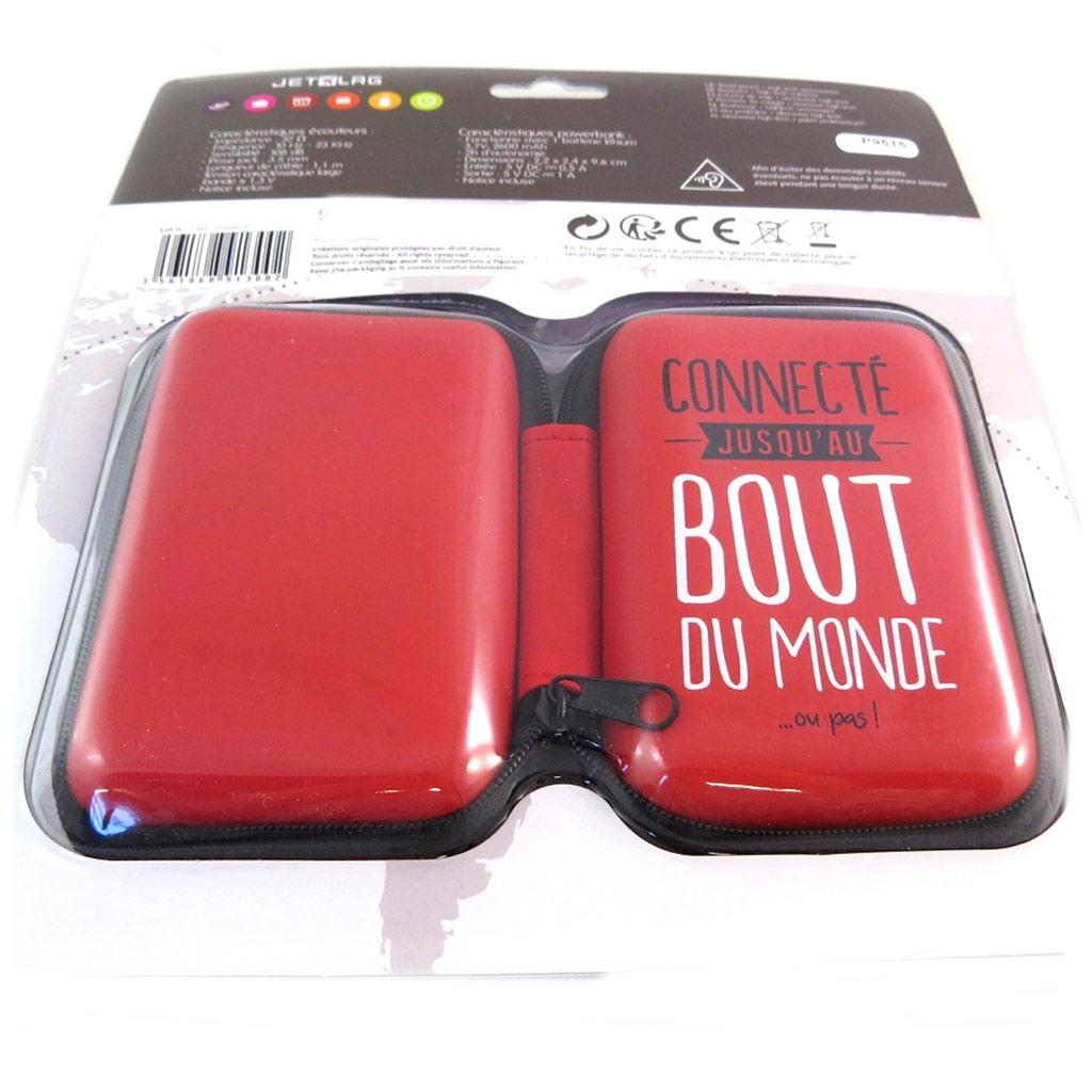 Kit de voyage High-Tech \'Messages\' rouge (Connecté jusqu\'au bout du monde) - 11x7 cm - [P9515]