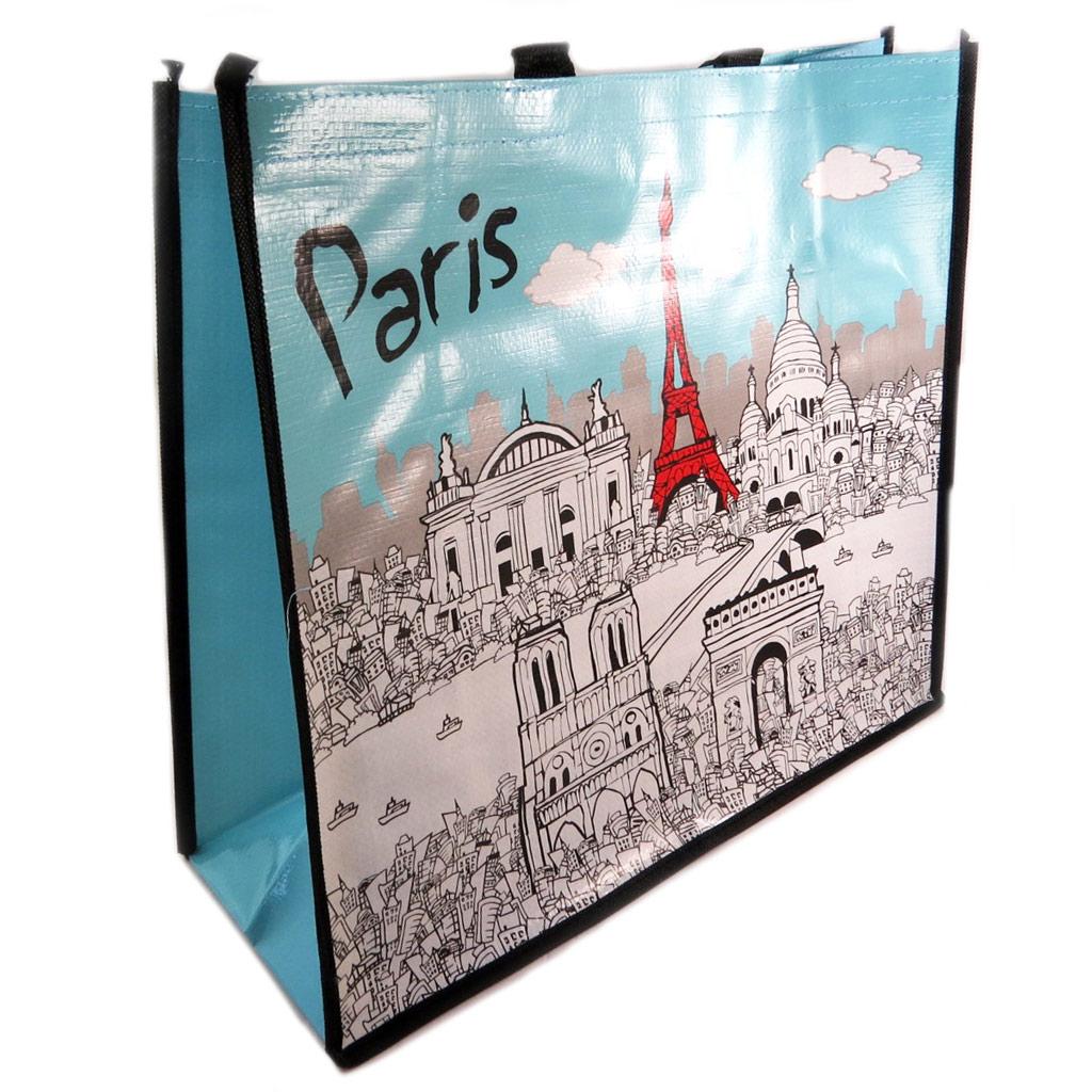 Sac Shopping rétro \'Paris\' turquoise blanc - 46x40x19 cm - [P9530]
