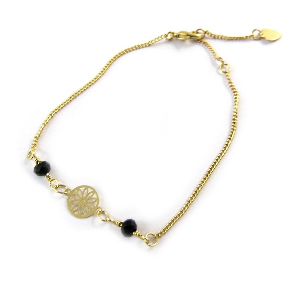 Bracelet \'Carmen\' noir doré - [N8872]