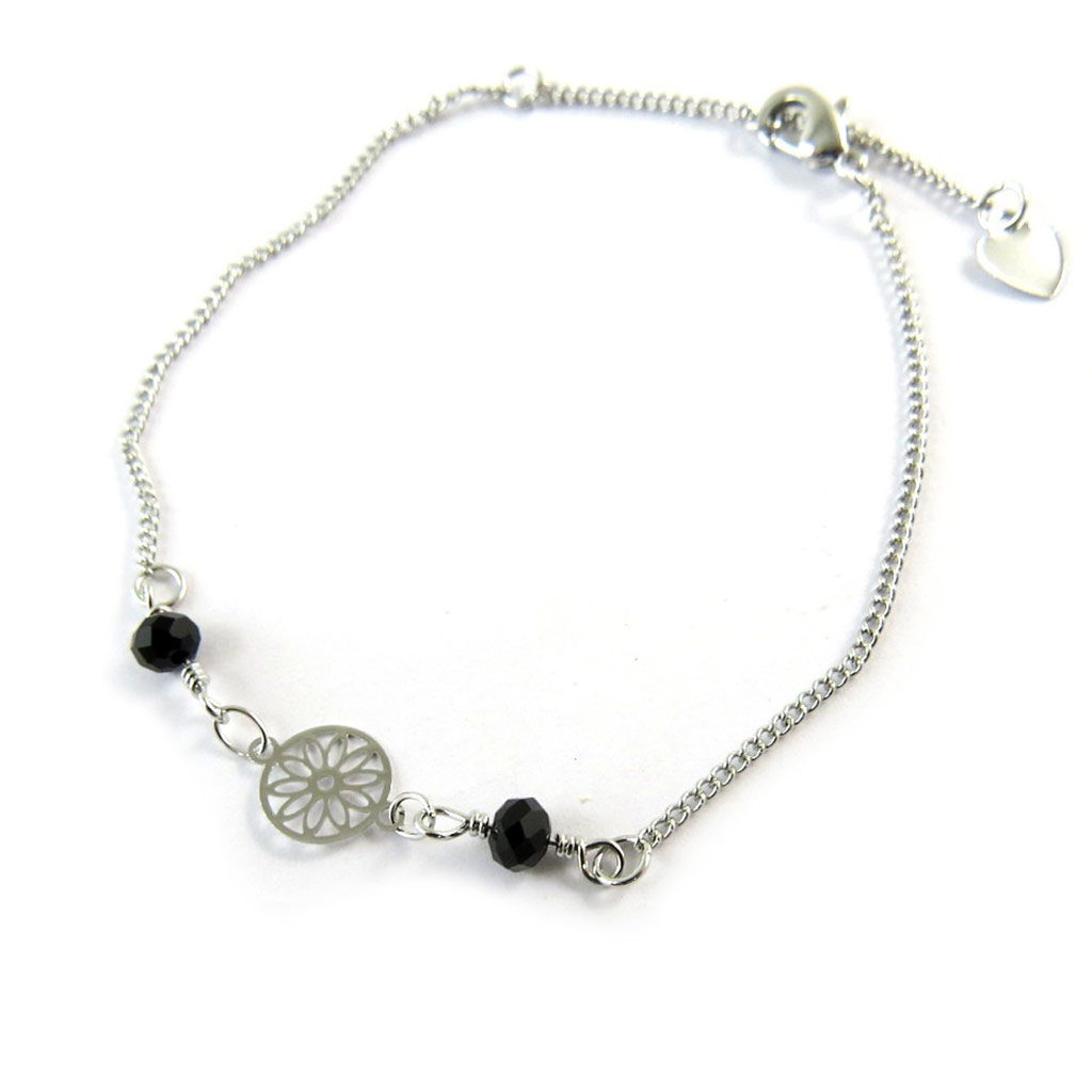 Bracelet \'Carmen\' noir argenté - [N8873]