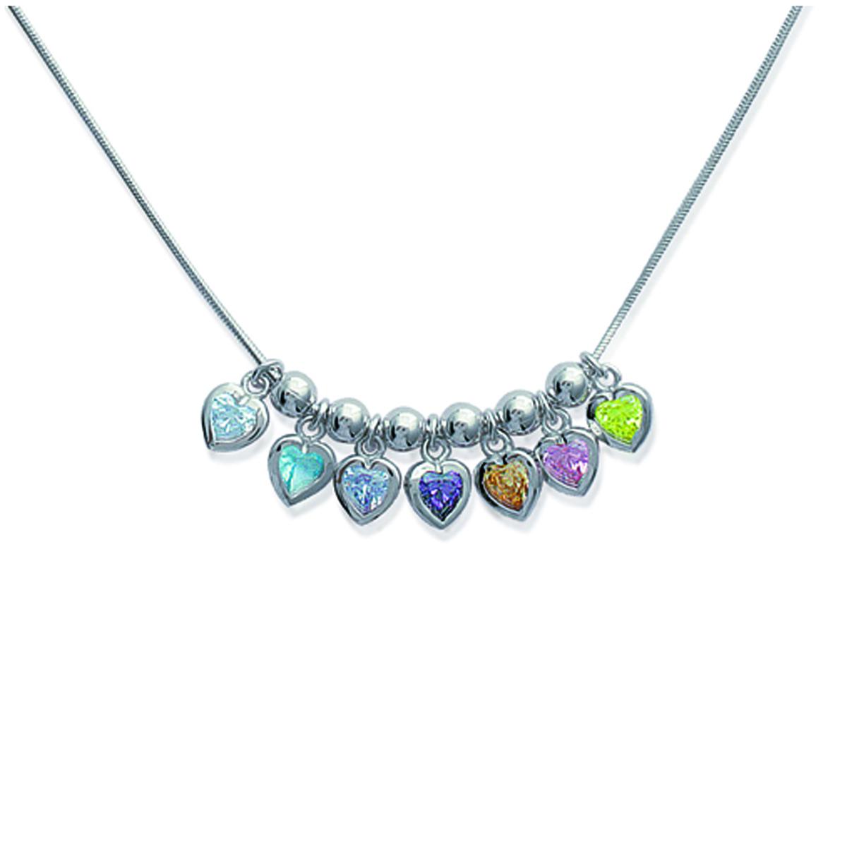 Collier Argent \'Fairy Love\' multicolore argenté (rhodié) - 40x10 mm - [D4589]