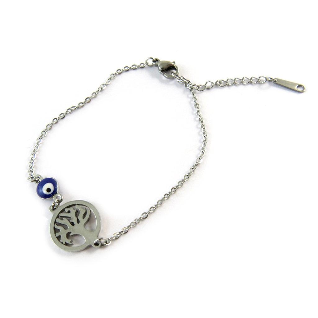 Bracelet acier \'Arbre de Vie\' gris argenté - [N8887]
