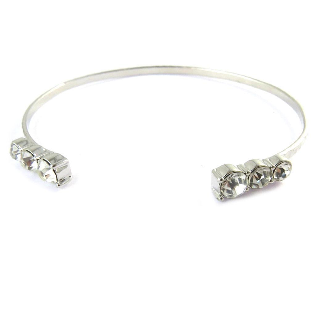 Bracelet créateur \'Sissi\' blanc argenté - [N8891]