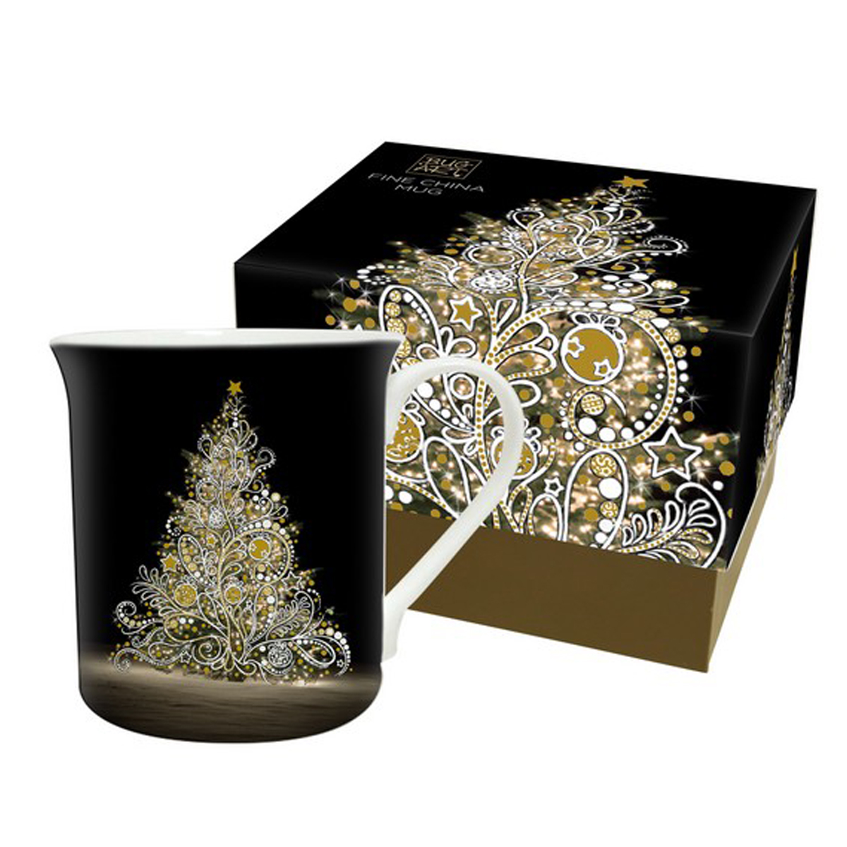 Mug porcelaine \'Bug Art\' (Sapin de Noël) - 90x85 mm - [Q4097]