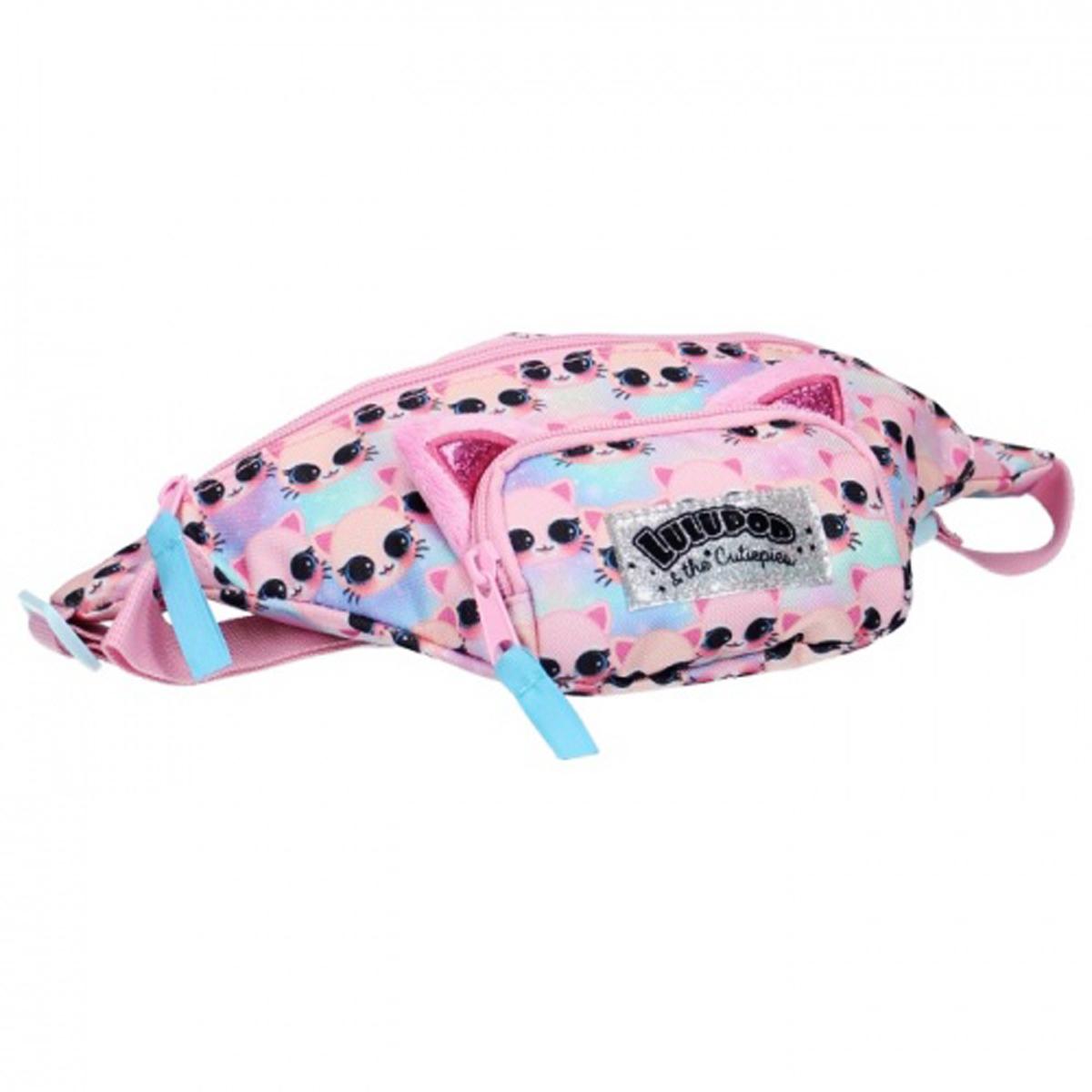 Sac banane / pochette ceinture \'Les Chats\' rose (Lulupop & the Cutiepies) - 33x13x7 cm - [Q7449]