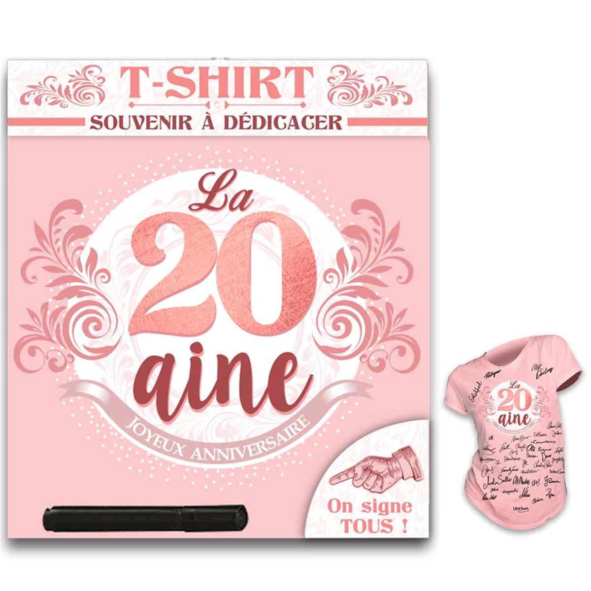 T-shirt \'20 aine\' rose blanc - (dédicace) - [R1421]