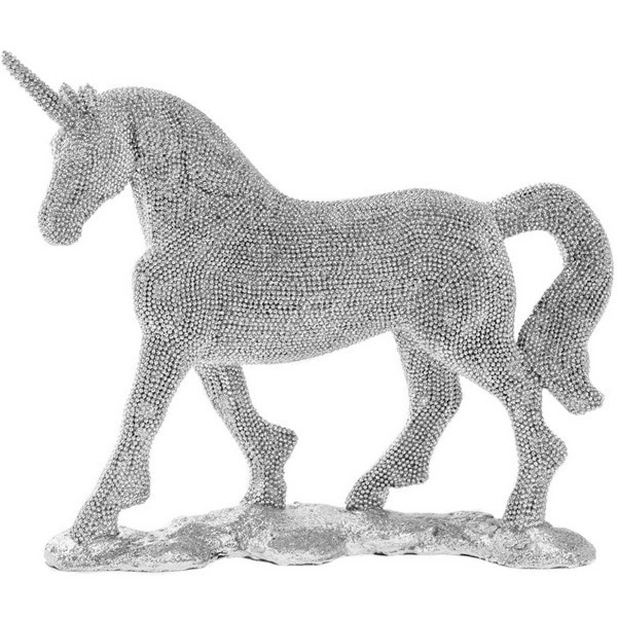 Figurine résine \'Licorne My Unicorn\' argenté diamant - 25x22 cm - [Q4098]