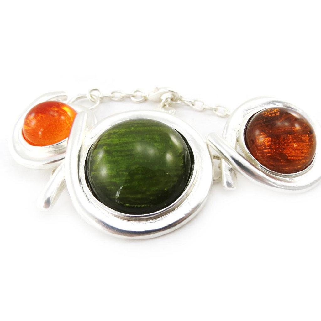 Bracelet Créateur \'Dragibus\' vert orange - [J3383]