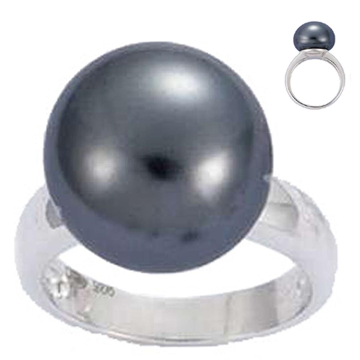 Bague Argent \'Perla\' gris argenté (rhodié) - 15 mm - [G8799]