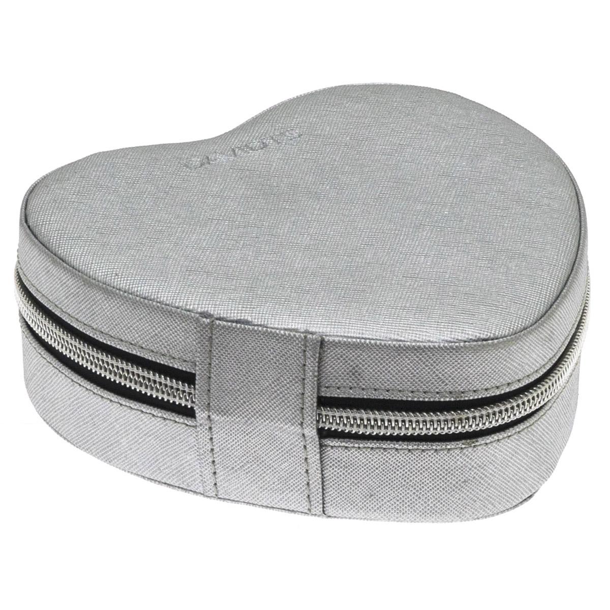 Coffret à bijoux zippé \'Zip\'n go\' gris argenté (coeur) - 14x14x5 cm - [Q9926]
