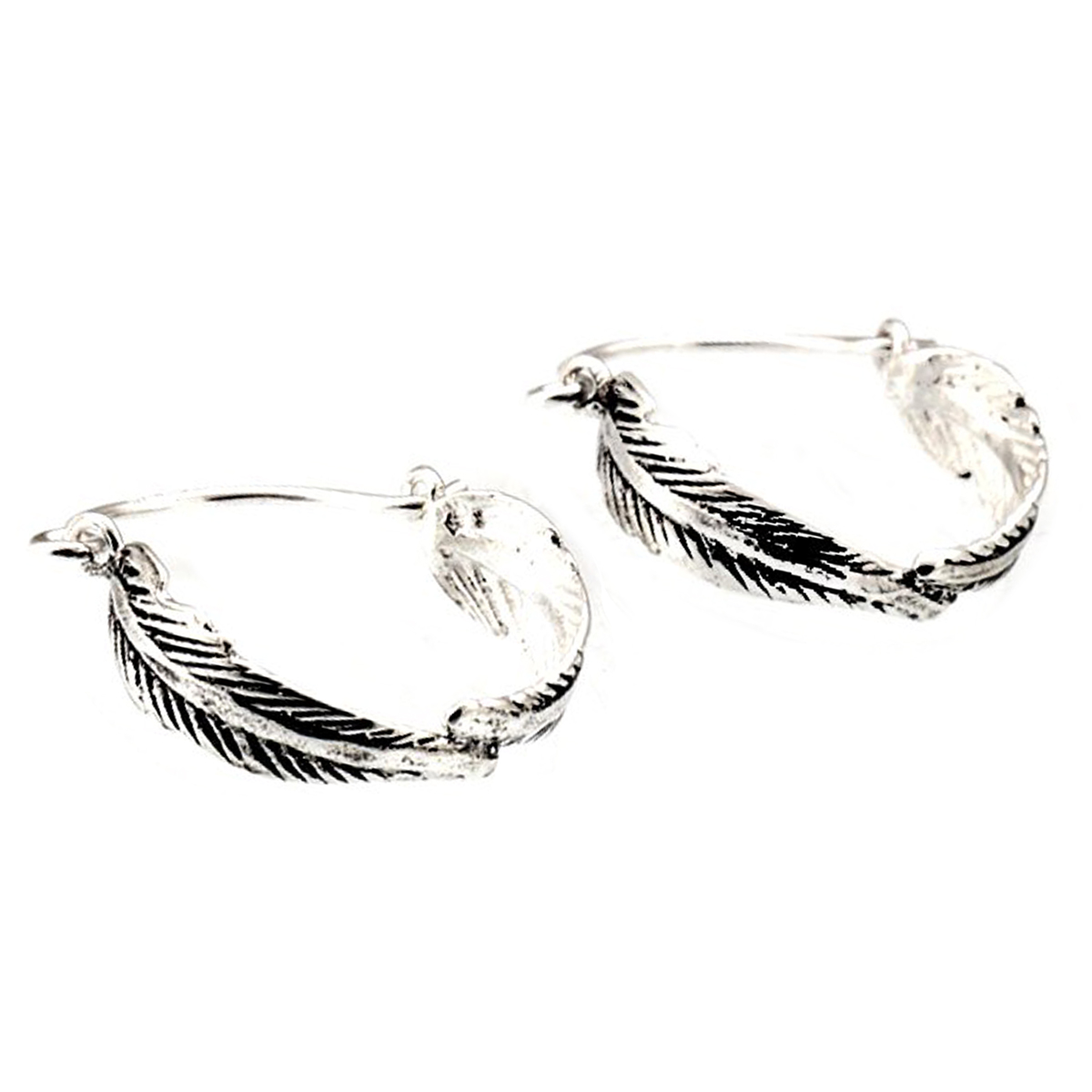 Boucles argent artisanales \'Boho\' argenté vieilli (plumes) - 15 mm 5 mm - [Q7488]