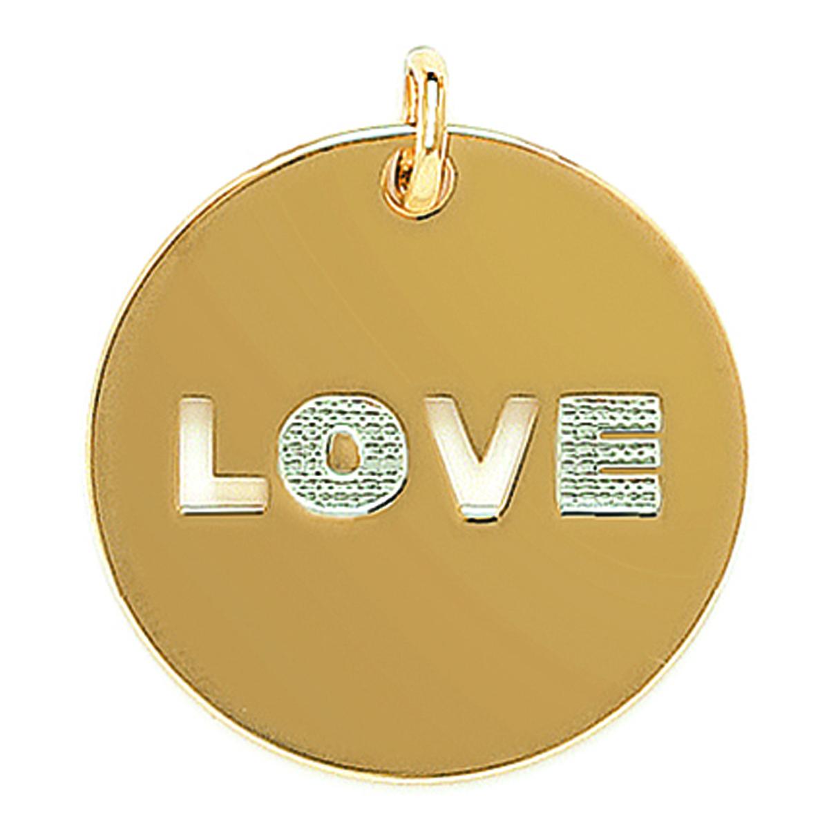 Pendentif Plaqué Or \'Love\' blanc doré - 30 mm - [D4615]
