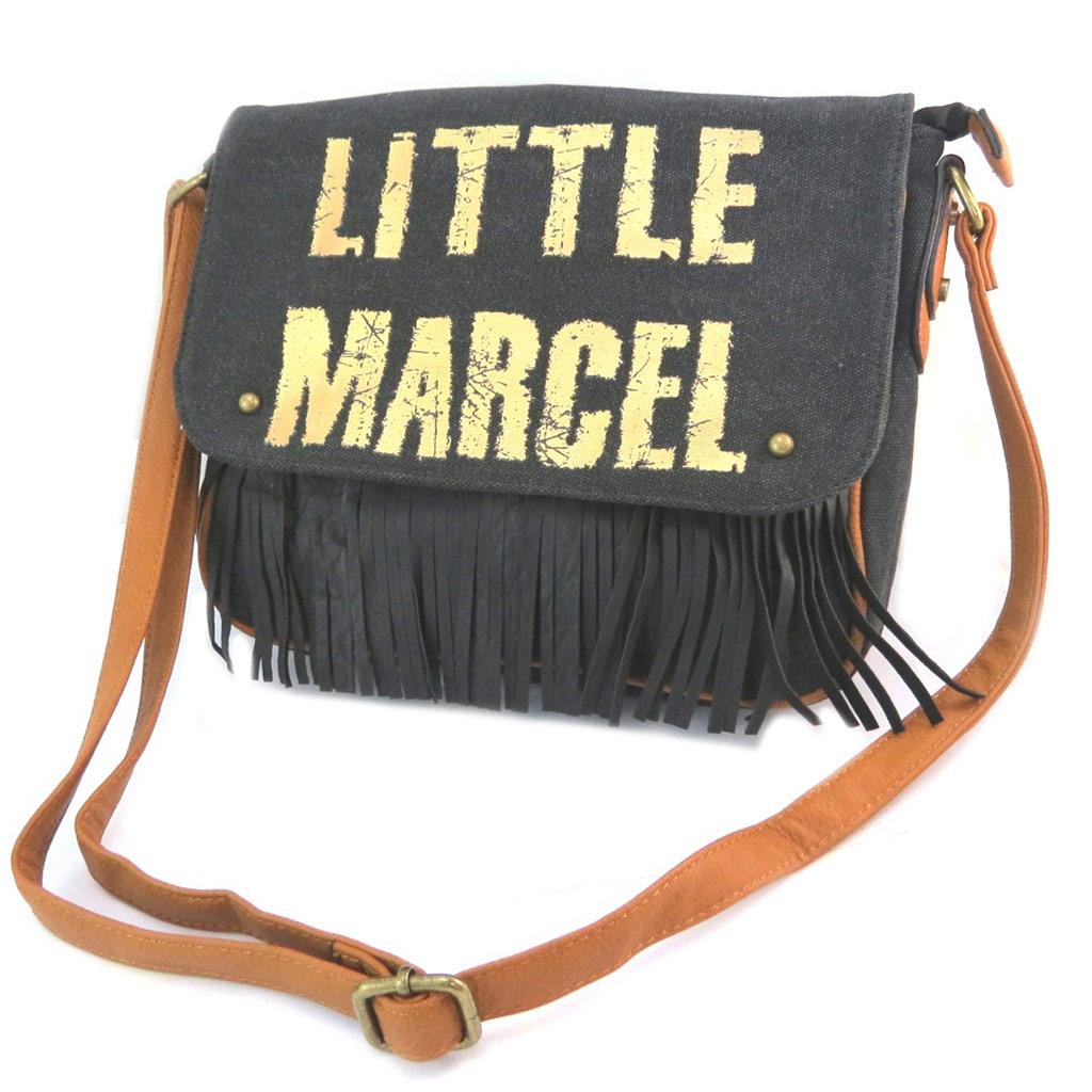 Sac créateur \'Little Marcel\' noir doré (franges) - 31x24x65 cm - [P2639]