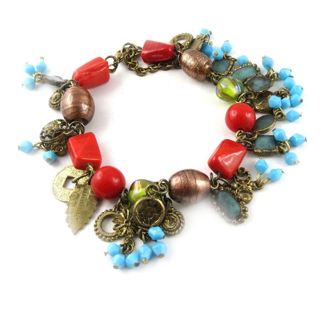 Bracelet \'Giasa\' Rouge Vert  - [B8177]