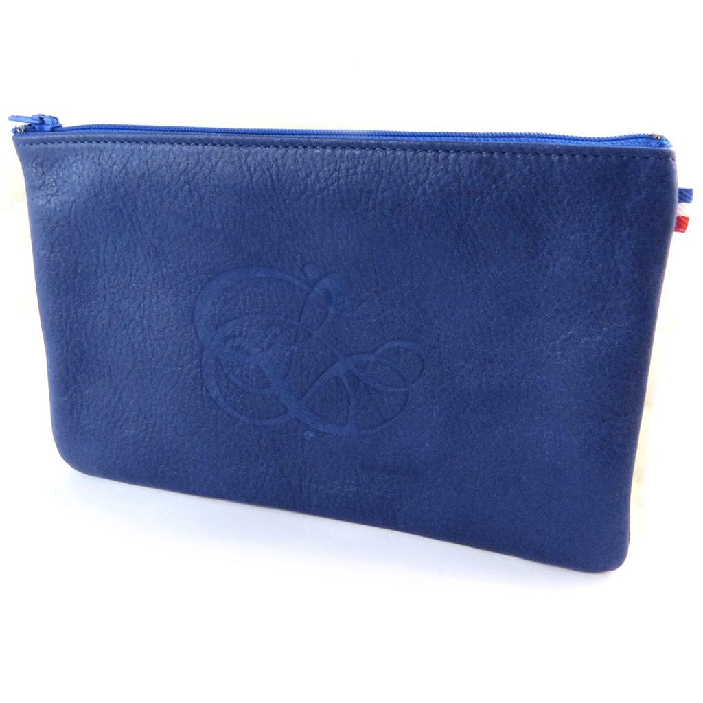 Trousse plate cuir pailleté \'Les Trésors De Lily\' bleu de France - 20x13 cm - [N8902]