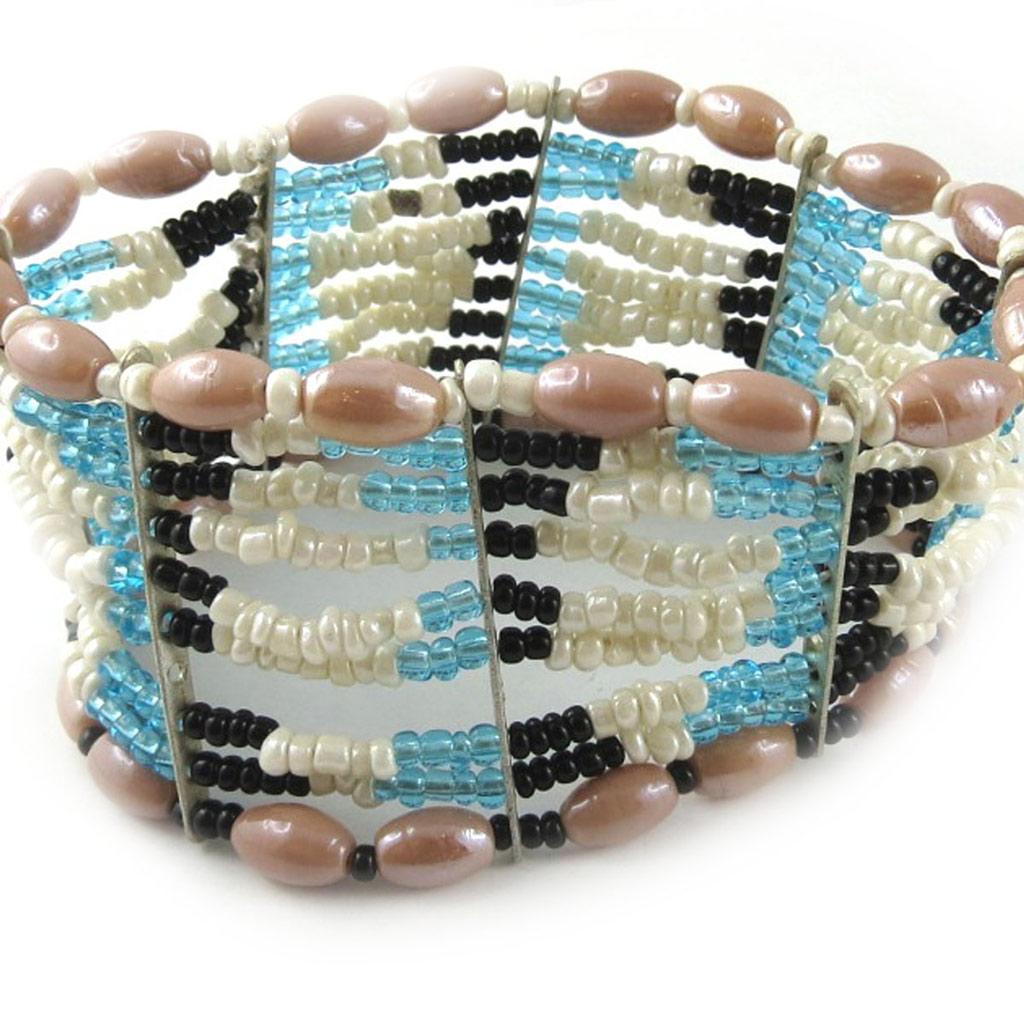 Bracelet \'Kunju\' Bleu Blanc Rose  - [B8179]