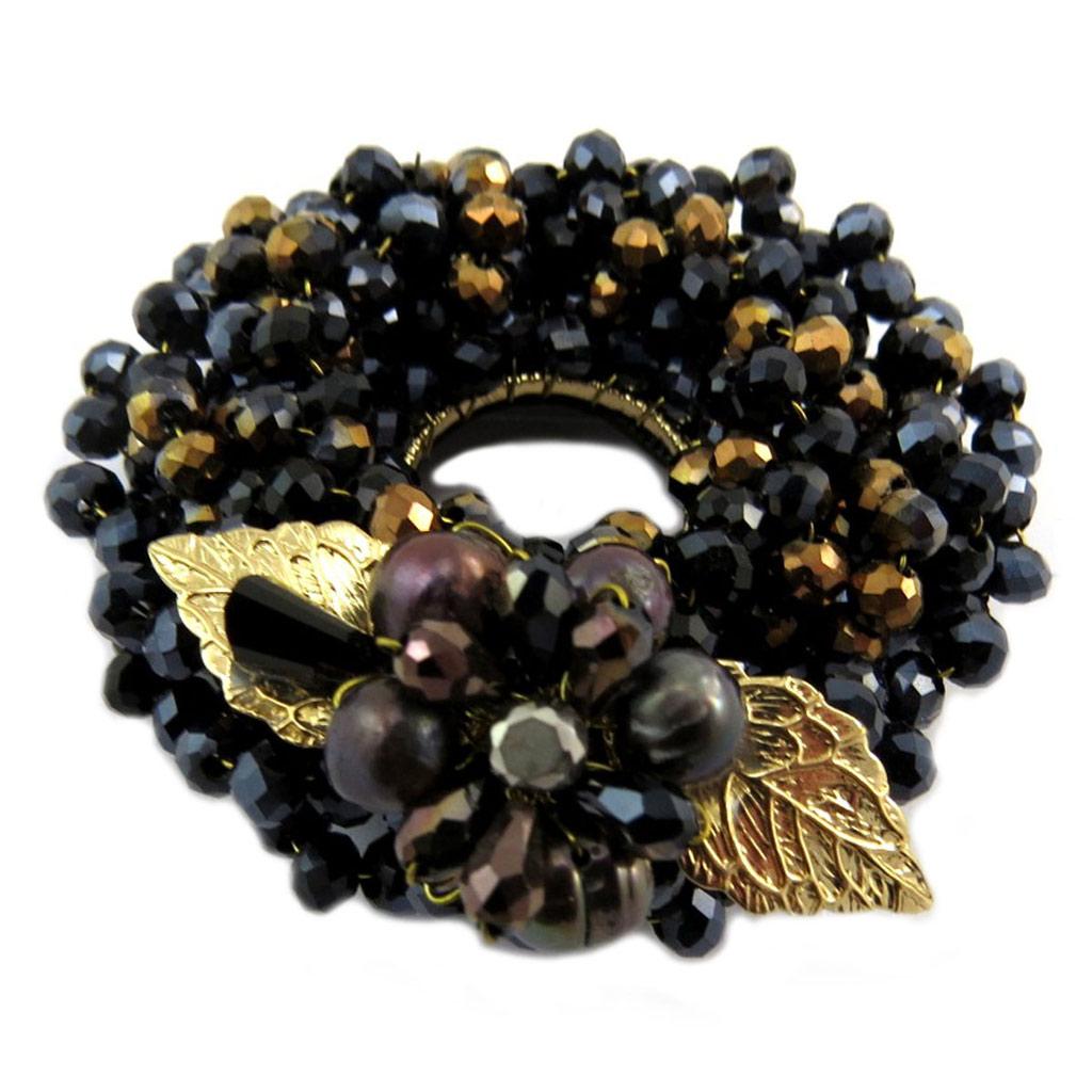Broche Créateur \'Scarlett\' noir marron doré - 5 cm - [P7595]