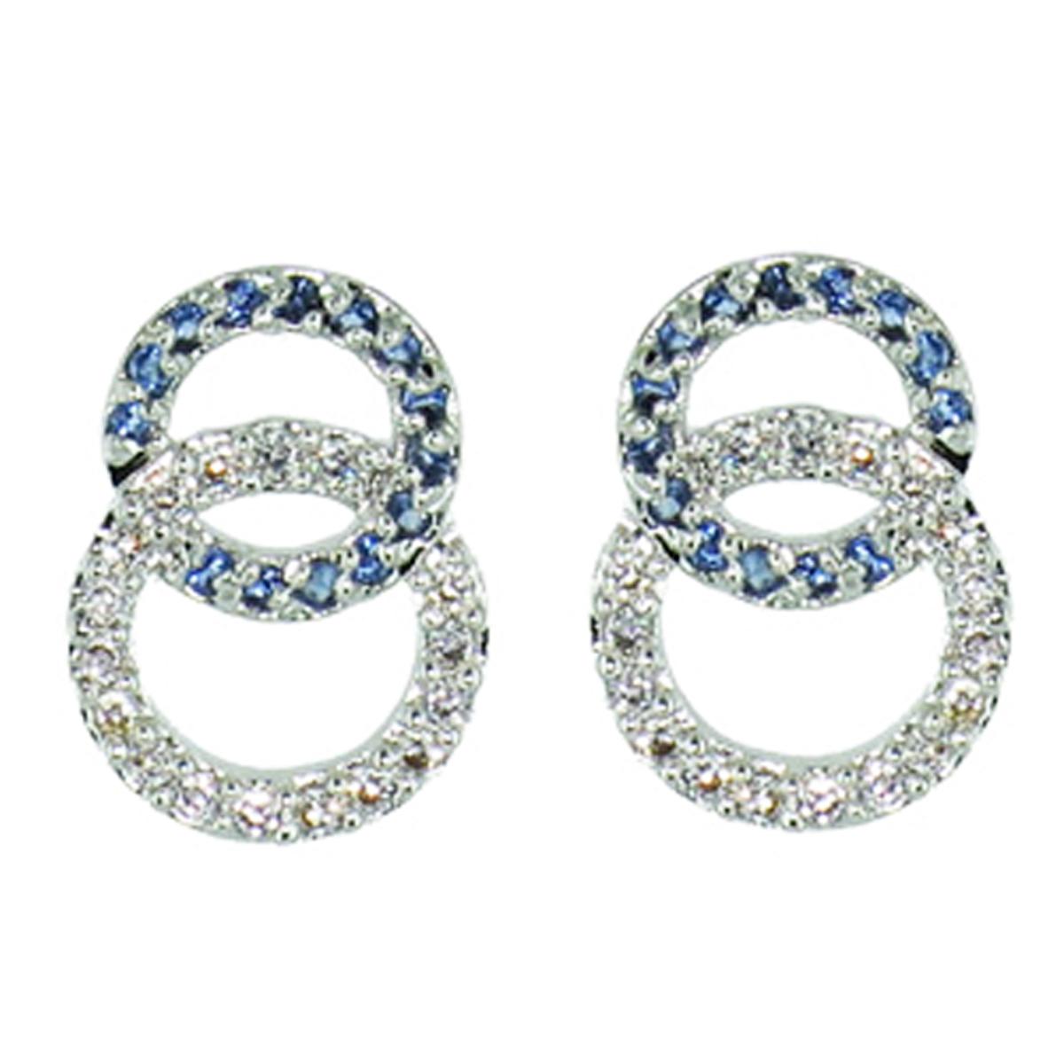 Boucles Argent \'Sissi\' bleu blanc argenté -14x10 mm - [Q1056]