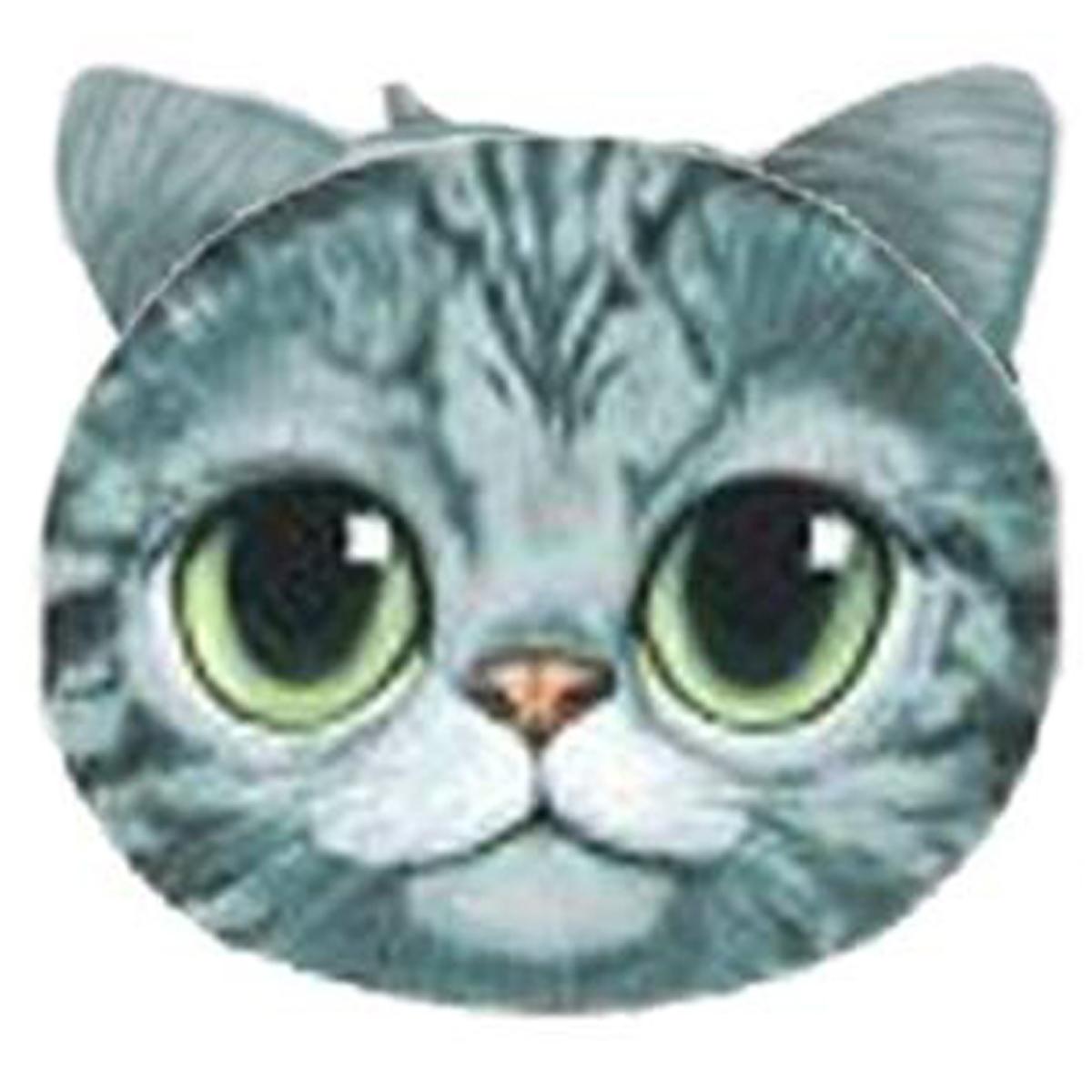 Porte-monnaie \'Chats\' bleu gris - 12x10 cm - [Q4144]