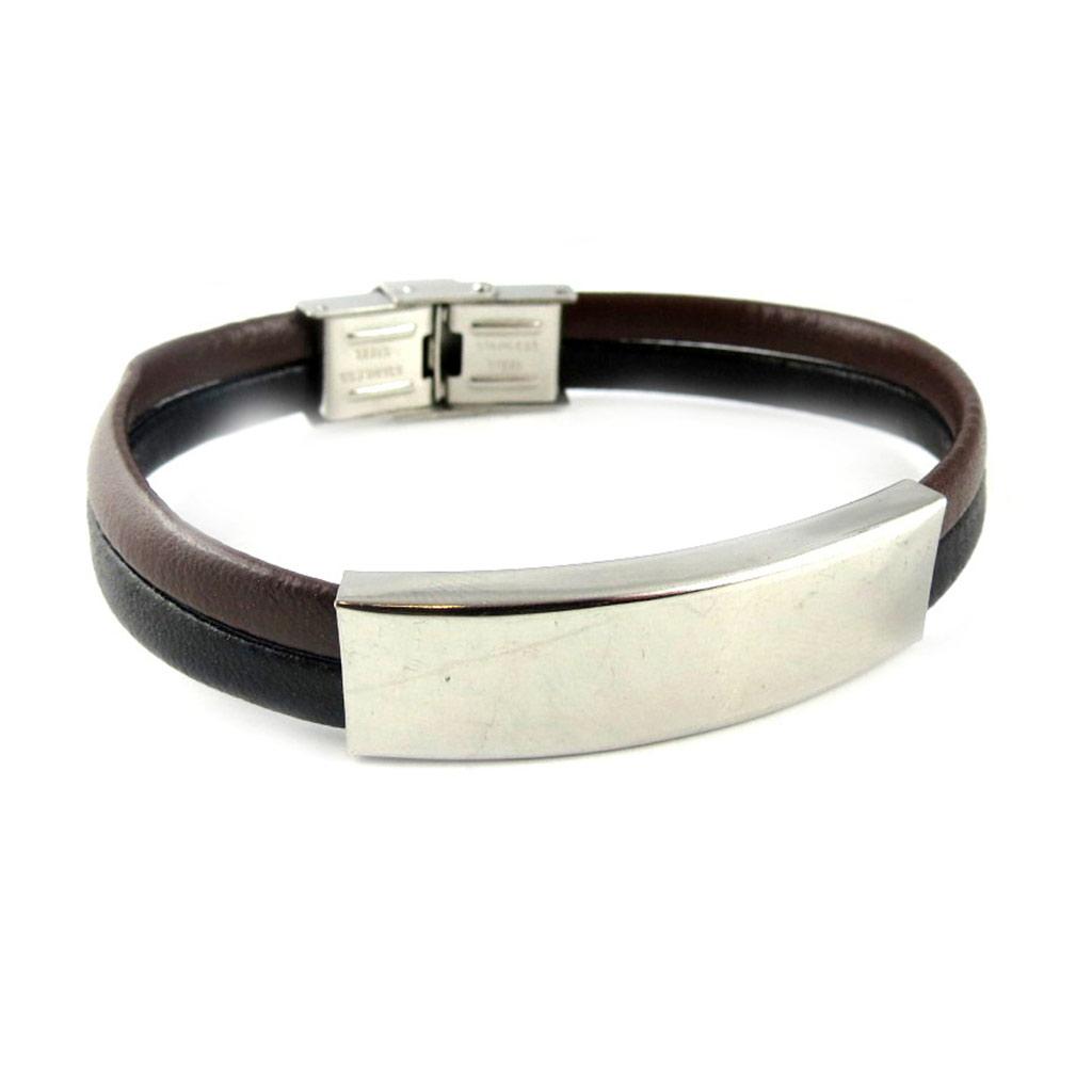 Bracelet acier \'Identité\' noir marron - [L1861]
