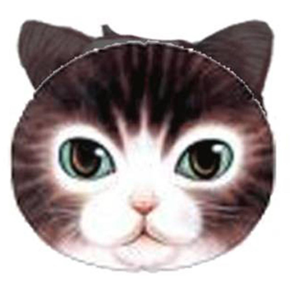 Porte-monnaie \'Chats\' noir yeux verts - 12x10 cm - [Q4147]