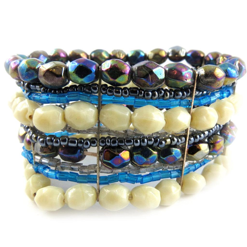 Bracelet \'Calcutta\' Blanc Marine  - [B8214]