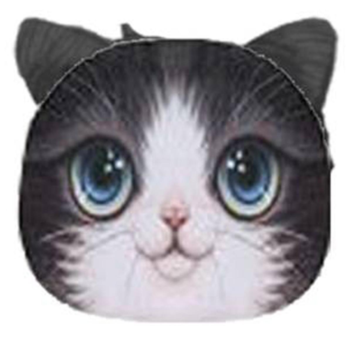 Porte-monnaie \'Chats\' noir yeux bleus - 12x10 cm - [Q4149]