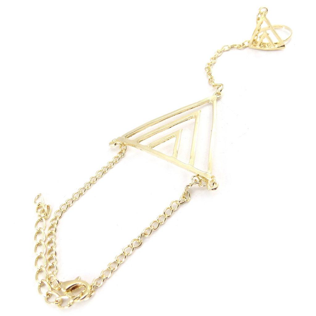 Bracelet bague \'Chorégraphie\' doré - [J9203]