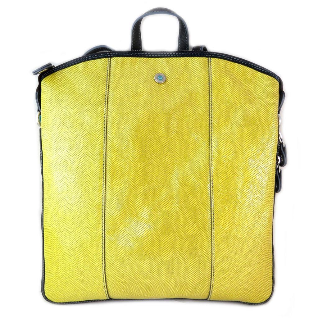 Sac à dos cuir \'Gabs\' jaune (M) - 35x32x3 cm - [P1530]