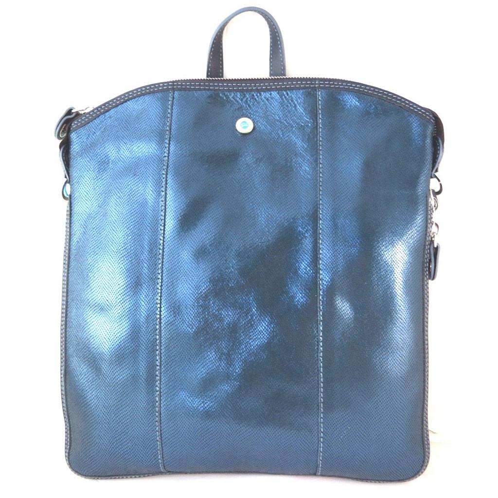 Sac à dos cuir \'Gabs\' bleu (M) - 35x32x3 cm - [P1531]