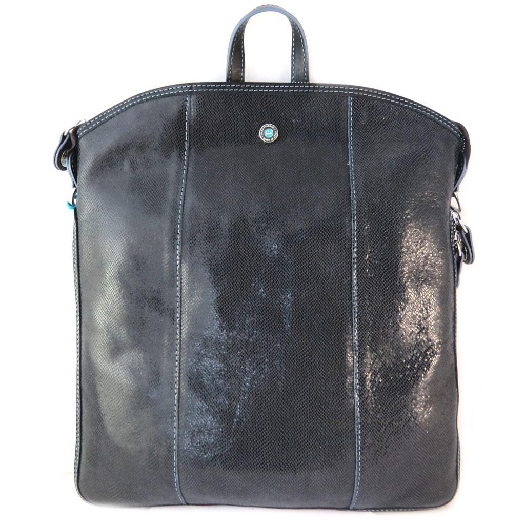 Sac à dos cuir \'Gabs\' noir brillant (M) - 35x32x3 cm - [P1532]