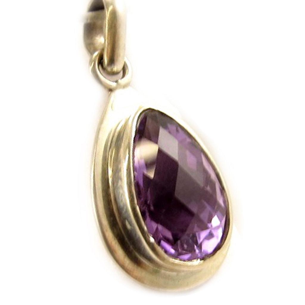 Pendentif Argent \'Sissi\' violet/ Améthyste  - [D5141]