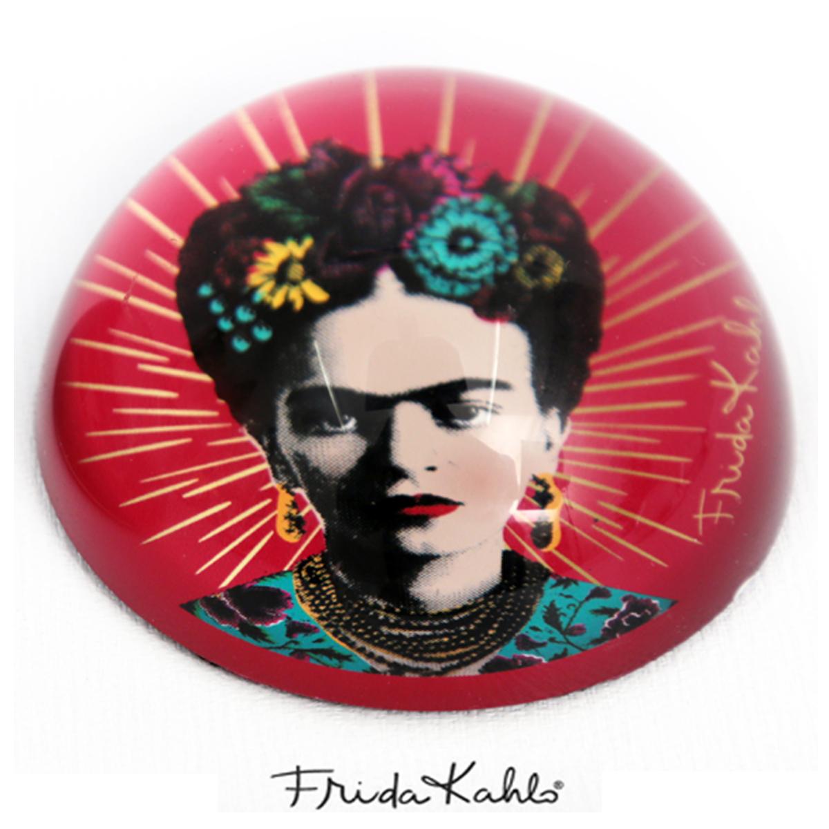 Presse papier verre \'Frida Kahlo\' rose - 78x40 mm - [Q9963]