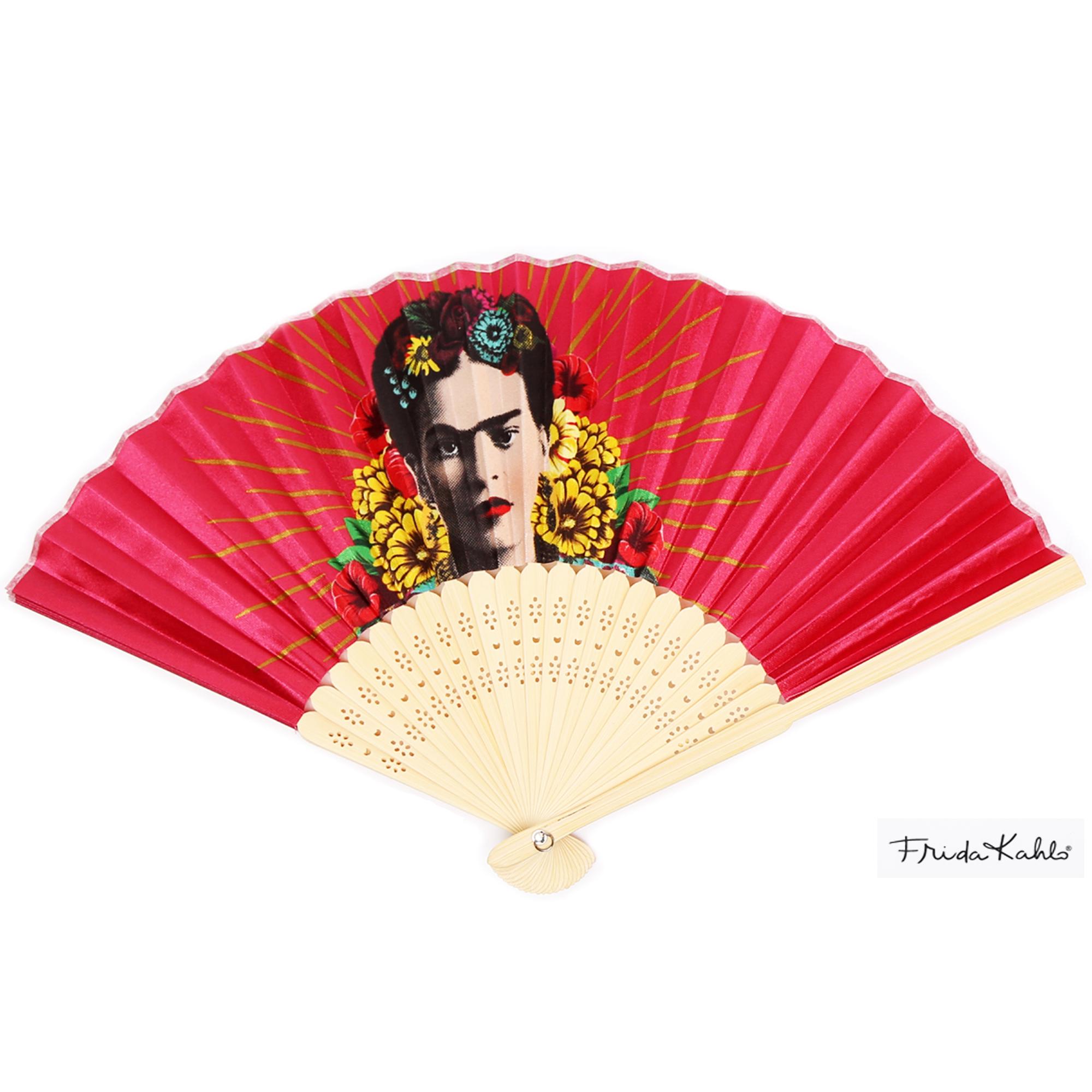 Eventail créateur \'Frida Kahlo\' rose - ouvert 37x21 cm - [Q9967]