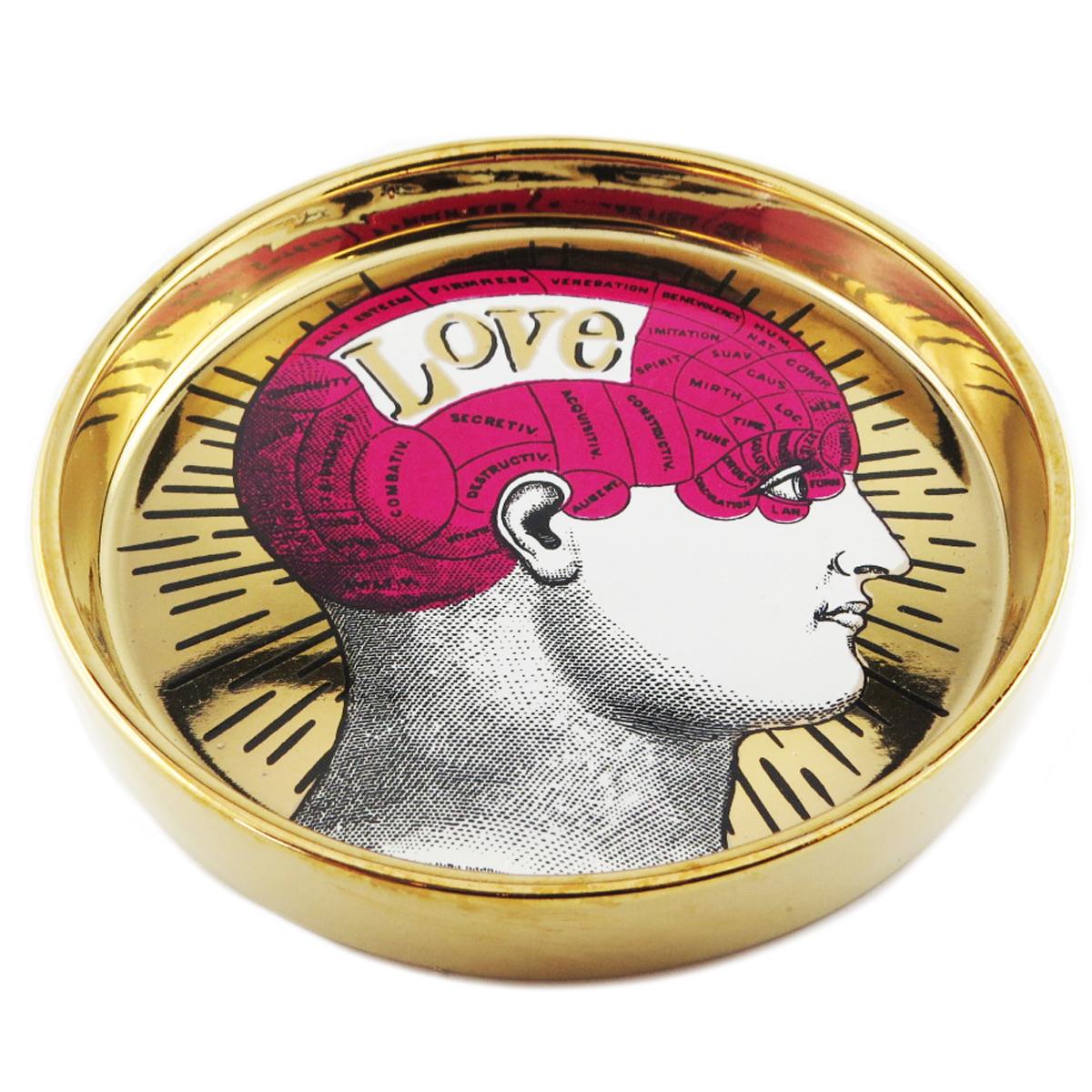 Coupelle vide poches céramique \'Phrenology\' fuschia doré (love) - 13x22 cm - [Q9968]