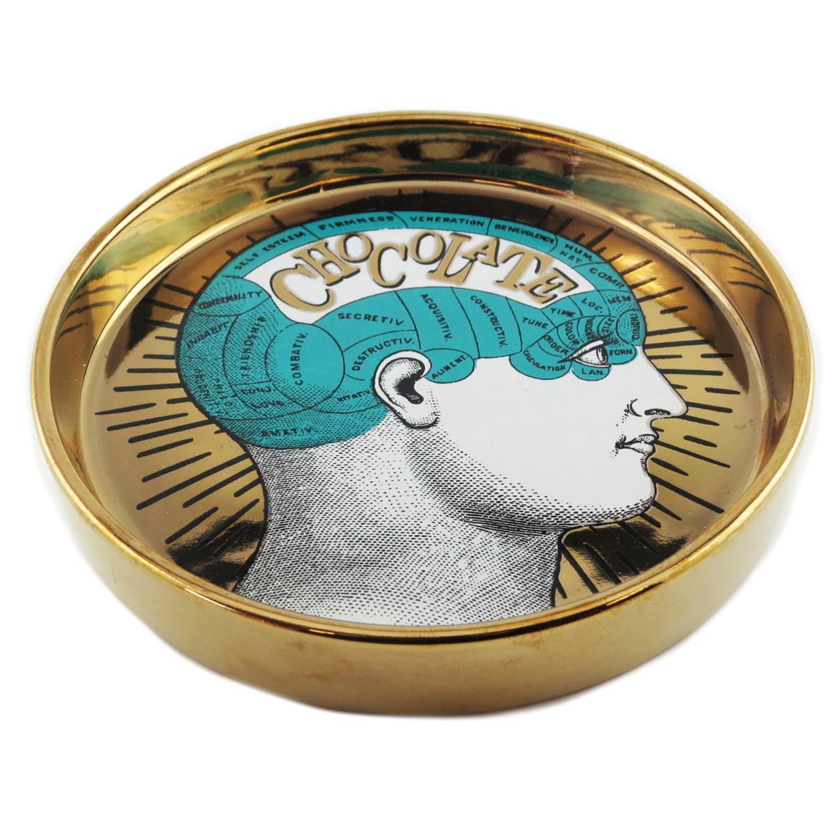 Coupelle vide poches céramique \'Phrenology\' turquoise doré (chocolate) - 13x22 cm - [Q9969]