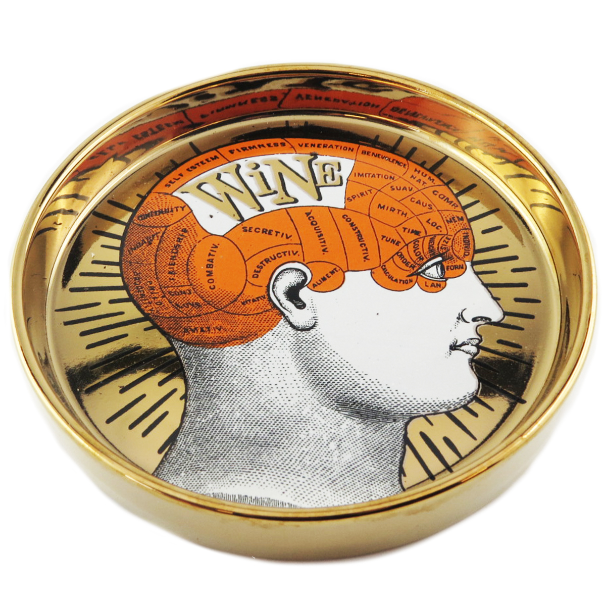 Coupelle vide poches céramique \'Phrenology\' orange doré (wine) - 13x22 cm - [Q9970]