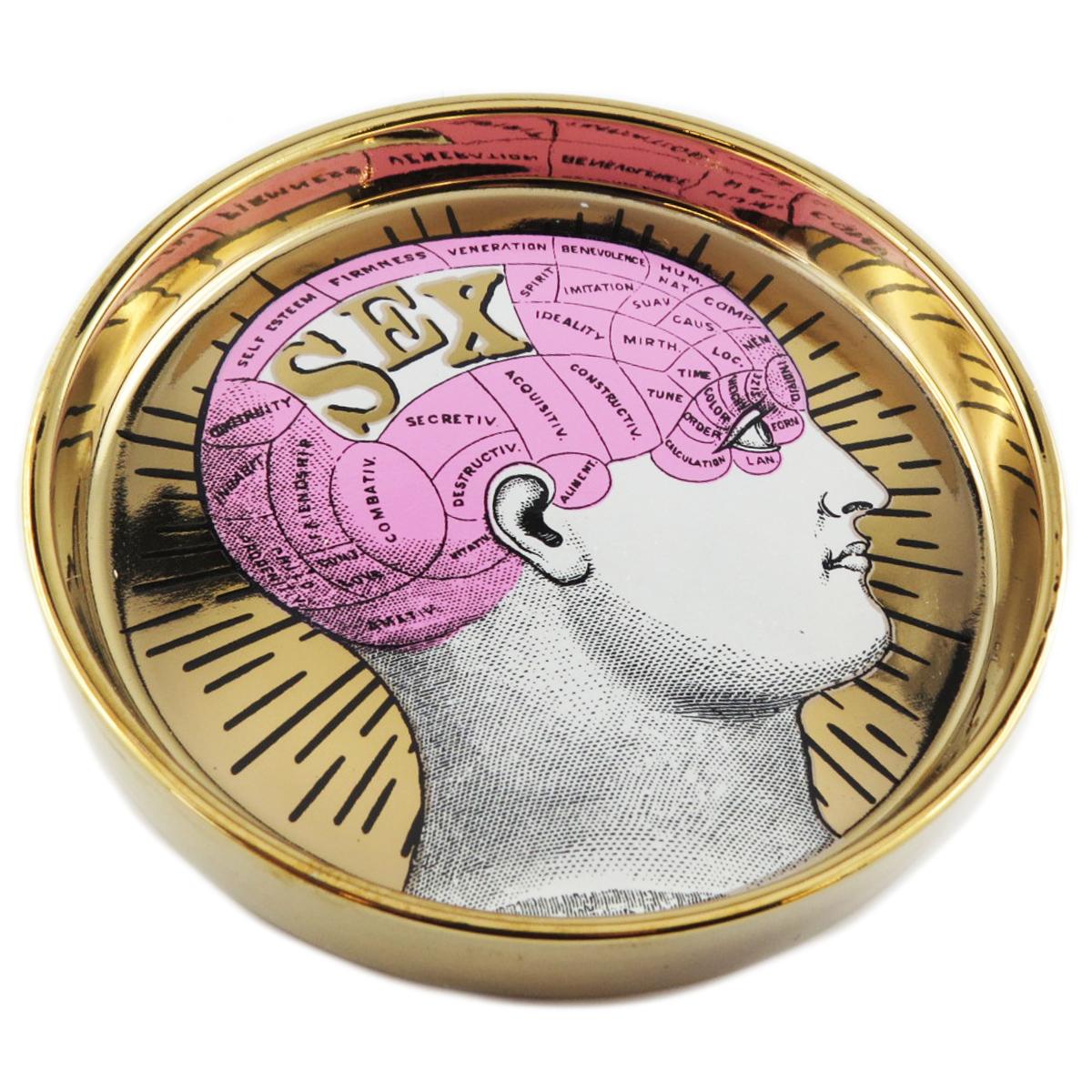 Coupelle vide poches céramique \'Phrenology\' rose doré (sex) - 13x22 cm - [Q9971]