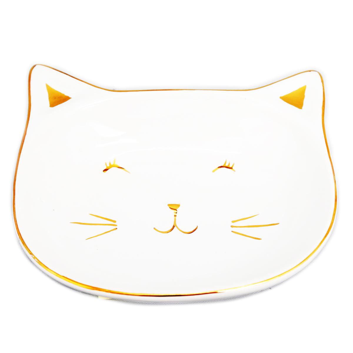 Coupelle vide poches céramique \'Chats\' blanc doré - 135x12x3 cm - [Q9977]