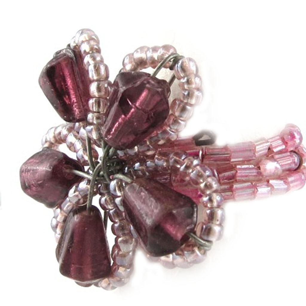 Bague \'Calcutta\' Violet Rose  - [B8392]
