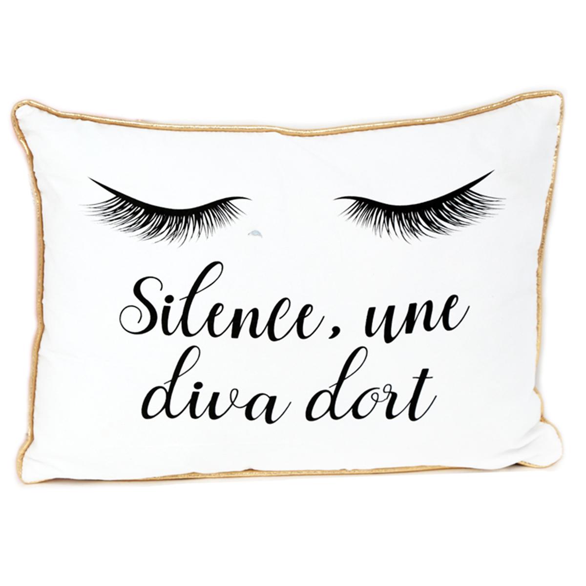 Coussin créateur \'Diva - Yeux Endormis\' blanc doré (Silence, une diva dort) - 40x30x9 cm - [Q9989]