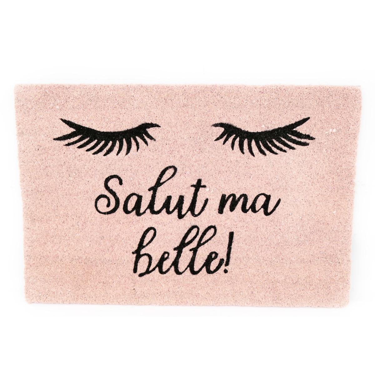 Paillasson paille \'Diva - Yeux Endormis\' rose (Salut ma belle !) - 60x40 cm - [Q9996]
