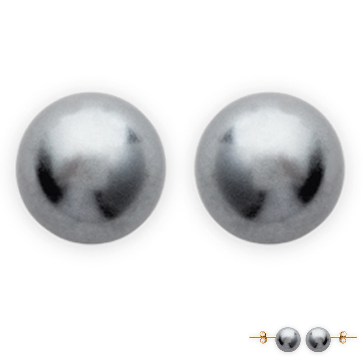 BO Plaqué Or Perles Grises 10 mm - [B8468]