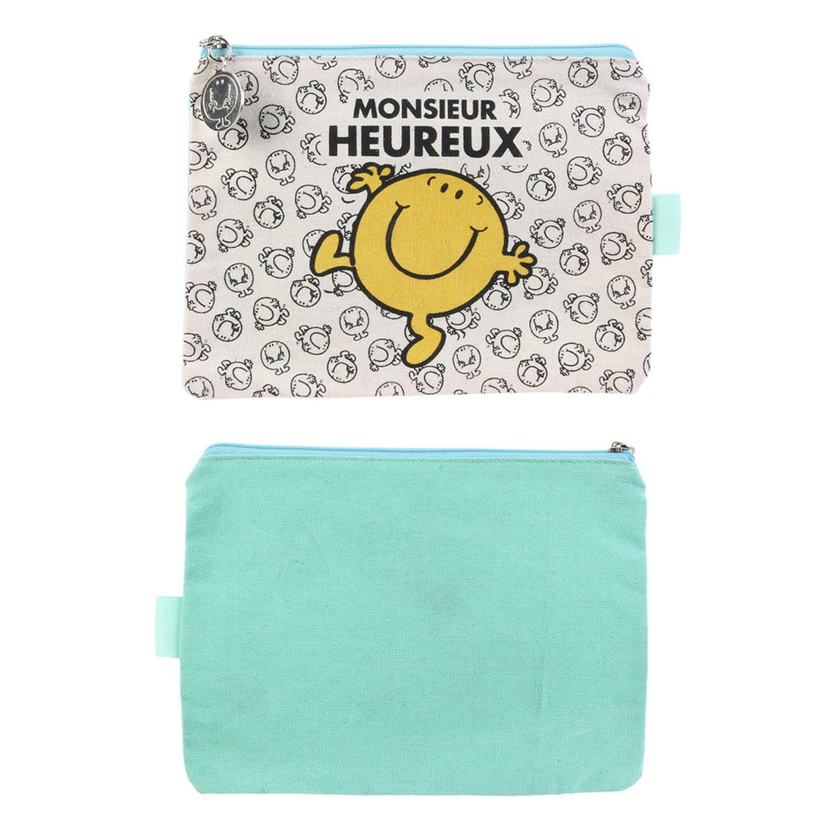 Trousse plate coton \'Monsieur Madame\' vert (M Heureux) - 19x14 cm - [R0017]